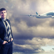 Business travelling collage with a plane — Stock Photo