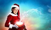 サンタの衣装で美しい少女 — ストック写真