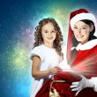 Little girl with christmas gifts and santa — Stockfoto #13742507