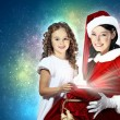 Little girl with christmas gifts and santa — Stock fotografie #13742507