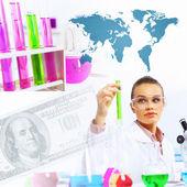 Collage met wetenschapper in laboratorium — Stockfoto