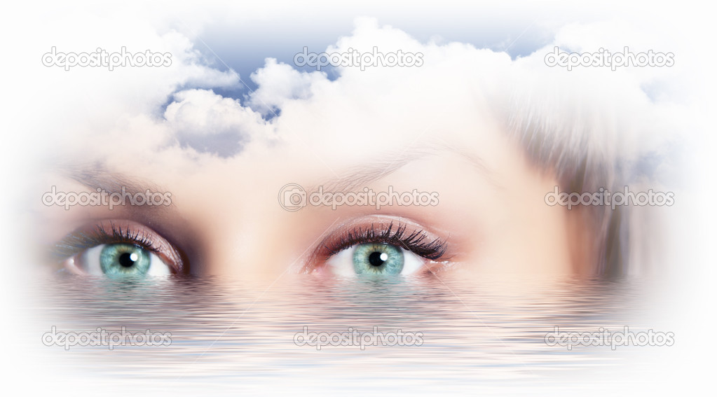 Conceptual illustration of eye overlooking water scenic  Stock Photo #13742577