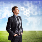 Businessman agaisnt virtual background — Stock Photo #13853797