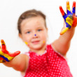 Happy child with paint on the hands — Foto Stock