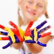 Happy child with paint on the hands — Stock Photo #13854006