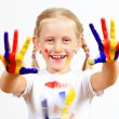 Happy child with paint on the hands — Stock Photo #13854118