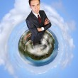 Planet earth against sky background — Stock Photo