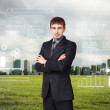 Business person with digital symbols — Stock Photo