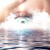 Conceptual illustration of eye overlooking water scenic — Stock Photo