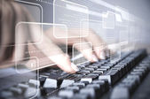 Computer keyboard and social media images — Stock Photo