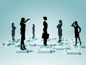Sociala nätverk och mänskliga figurer — Stockfoto