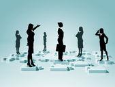 Sociální sítě a lidské postavy — Stock fotografie