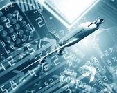 Flugzeug gegen betriebswirtschaftlicher hintergrund — Stockfoto