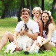Happy family having fun outdoors - Foto Stock