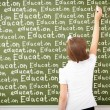Scoolgirl standing near blackboard — Stock Photo #14216795