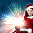 Beautiful girl in santa costume — Stock Photo #14216949