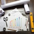 Stock Photo: Tools and papers on the table