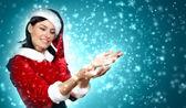 Portrét dívky nosí santa claus oblečení — Stock fotografie