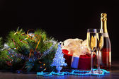 New Year's still life with glasses — Foto Stock