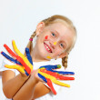 Happy child with paint on the hands — Stock Photo #14563117