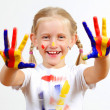 Happy child with paint on the hands — 图库照片