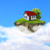 A piece of land in the air with house and tree. — Foto Stock