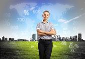 Bedrijfspersoon met digitale symbolen — Stockfoto