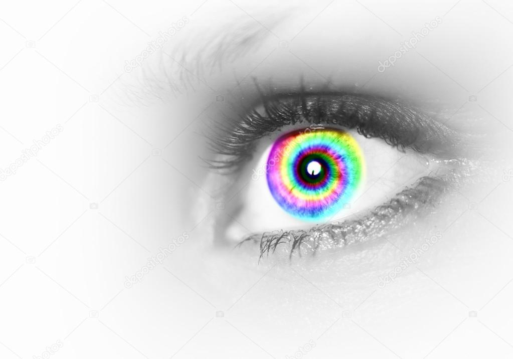 Photo of the human eye against grey background — Stock Photo #14563177
