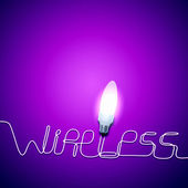 Electric bulb and word wireless — Stock Photo