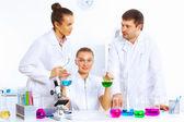 Equipo de científicos que trabajan en el laboratorio — Foto de Stock