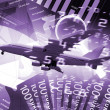 Plane against business background — Stock Photo