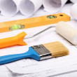 Tools and papers with sketches — Stock Photo #14877189
