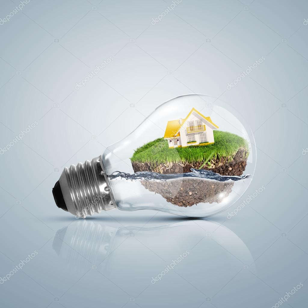 Ecoloy illustration Lamp bulb with clean nature and renewable energy symbol inside — Stock Photo #14877241