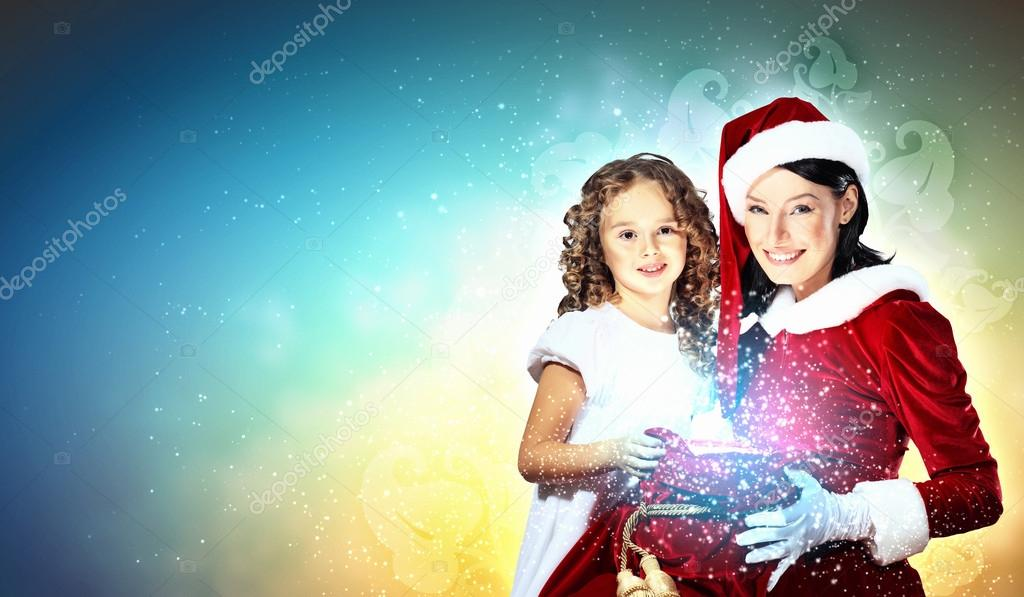 Christmas illlustration of little girl with christmas gifts and santa — Stock Photo #14877263