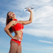 Young female sport girl with a bottle of water — Stock Photo #15319293