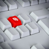 Keyboard with button showing the chat icon — Stock Photo