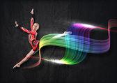 年轻女子体操运动员西装摆造型 — 图库照片