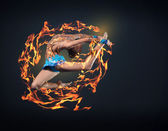 Young woman in gymnast suit posing — Stock Photo