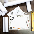 Tools and papers with sketches — Stock Photo #15588709