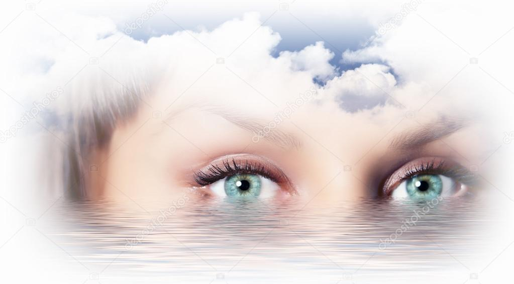 Conceptual illustration of eye overlooking water scenic — Stock Photo #15589311