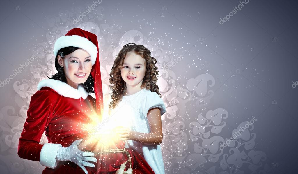 Christmas illlustration of little girl with christmas gifts and santa — Stock Photo #15589345