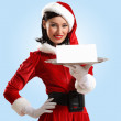 Santa girl with a blank banner — Foto de Stock