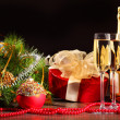 New Year's still life with glasses — Stock Photo