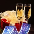 Stock Photo: New Year's still life with glasses