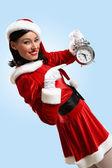 Christmas girl in santa hat — Stock Photo