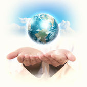 Planet system in your hands — Stock Photo