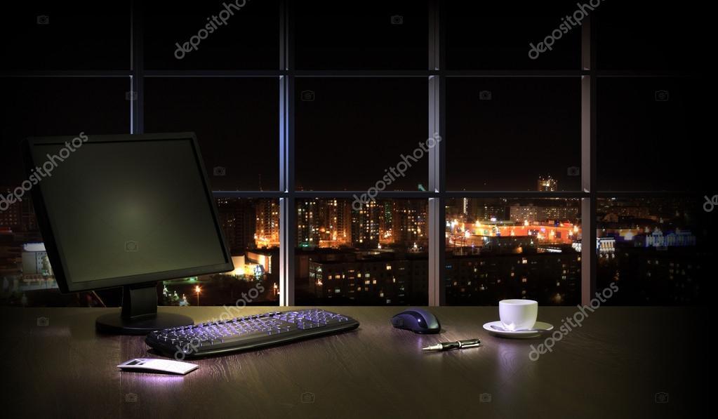 Office Window View Night : Office at night — stock photo sergeynivens