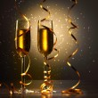 Glasses of champagne at new year party -  