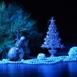 Foto Stock: Blue Christmas collage