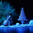 Blue Christmas collage — Stockfoto